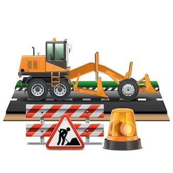 Construction de routes avec niveleuse