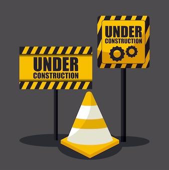 En construction signe avec des cônes