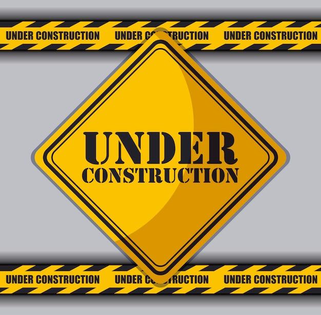 En construction signe avec feux de circulation