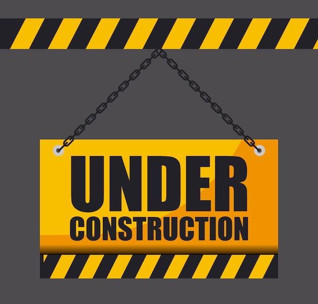 En construction signe suspendu