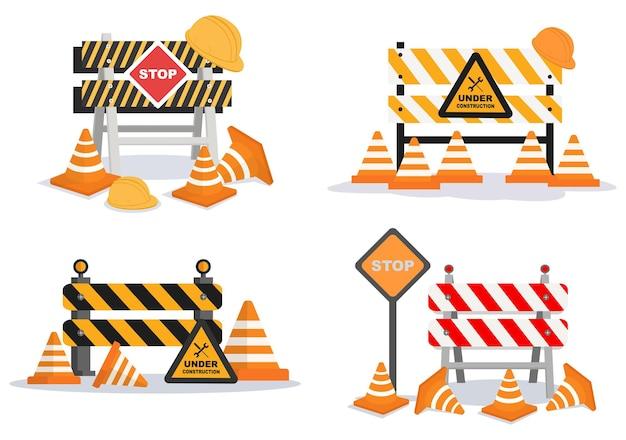 En Construction Avec Symbole Illustration Design Plat Vecteur Premium