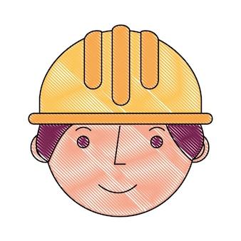 Construction de travailleur dans le caractère de visage hardhat