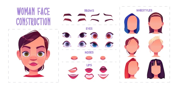 Construction de visage de femme, création d'avatar avec différentes parties de la tête sur blanc