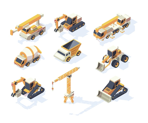 Constructions de véhicules. machines de transport d'excavatrice de grue de camion de grandes voitures pour la collection isométrique de constructeurs. illustration transport isométrique, transport de fret industriel