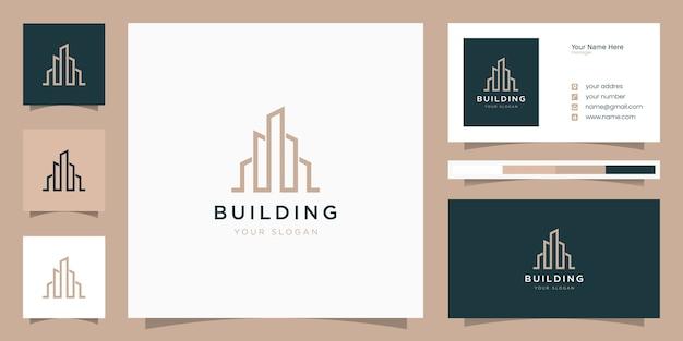 Construire avec le concept de ligne. résumé du bâtiment de la ville pour l'inspiration du logo. conception de cartes de visite