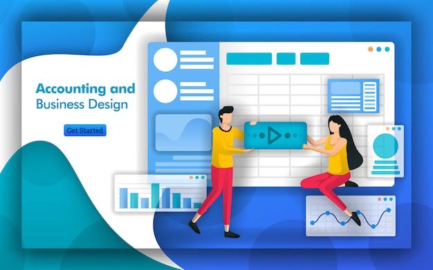 Construire une entreprise avec la comptabilité et la conception de l'entreprise