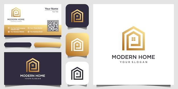 Construire le logo de la maison avec un style d'art en ligne. résumé de construction de maison pour la conception de logo et de carte de visite