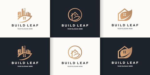 Construire le logo de la maison verte du logo de la feuille