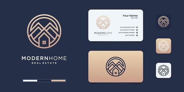 Construisez le logo de la maison avec un style de dessin au trait. inspiration de logo abstrait de construction de maison