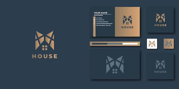 Construisez le logo de la maison avec un style de dessin au trait. résumé de construction de maison pour la conception de logo et de carte de visite