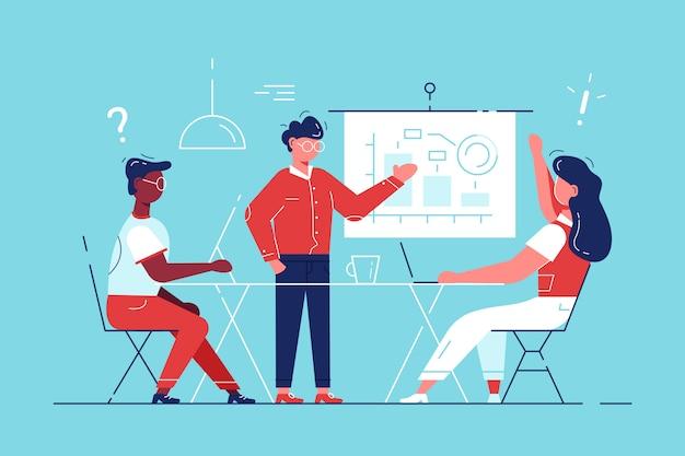 Consultant en affaires montrant les tâches du conseil de planification.