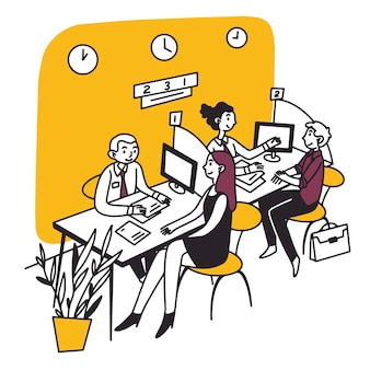Consultant bancaire parlant au client