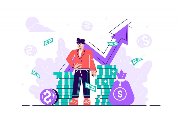 Consultant financier s'appuyant sur une pile de pièces sourit amicalement et agite la main. investisseur ou entrepreneur prospère. conseil financier, investissement et épargne. illustration plat moderne