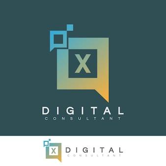 Consultant numérique initiale lettre x logo design