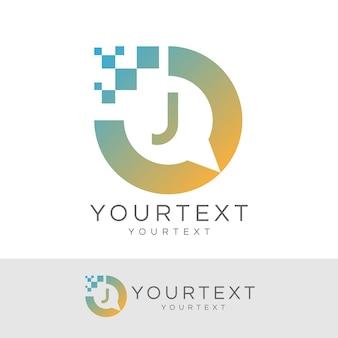 Consultant numérique lettre initiale j logo design