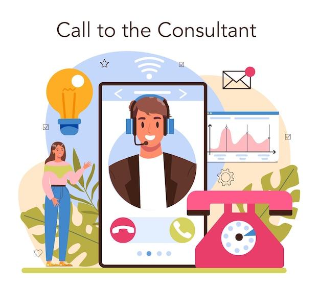 Consultant en service en ligne ou spécialiste de la plate-forme faisant des recherches