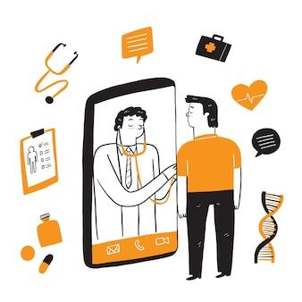 Consultation du patient chez le médecin via smartphone.