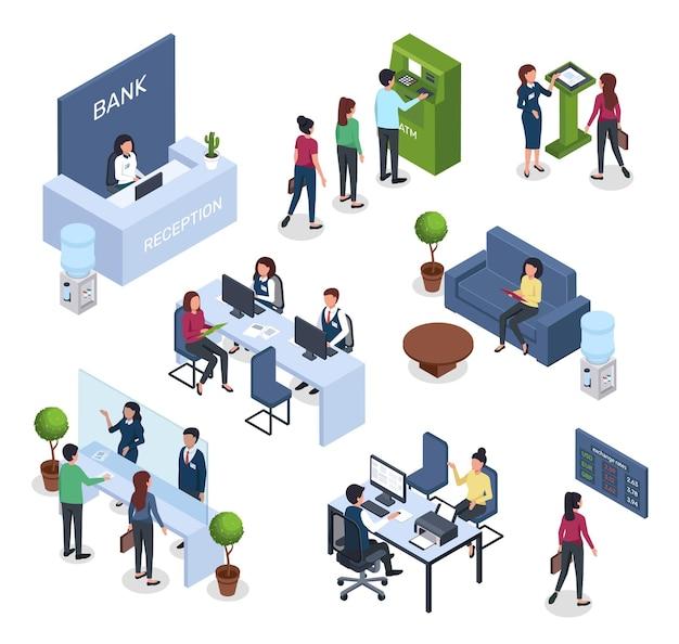 Consultation financière bancaire isométrique file d'attente guichet d'accueil bureau de change intérieur