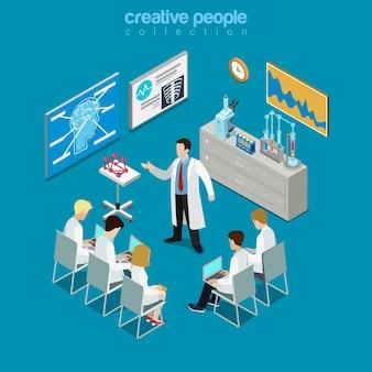 Consultation de groupe de médecins professionnels concilium isométrique plat