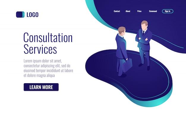 Consultation en ligne, discussion entre deux hommes, dialogue, processus de travail en équipe
