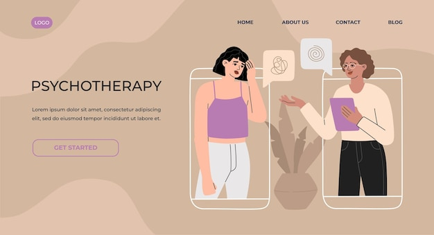 Consultation en ligne avec un psychothérapeute par concept de page de destination de téléphone