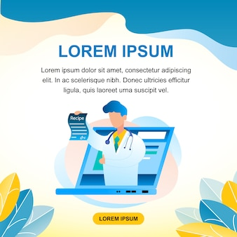 Consultation de médecin en ligne banner illustration