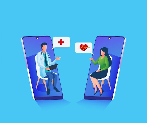 Consultation médicale en ligne donnant des conseils et une illustration d'aide