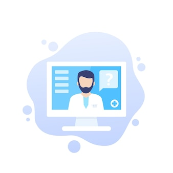 Consultation médicale en ligne, icône de vecteur de diagnostic avec medic