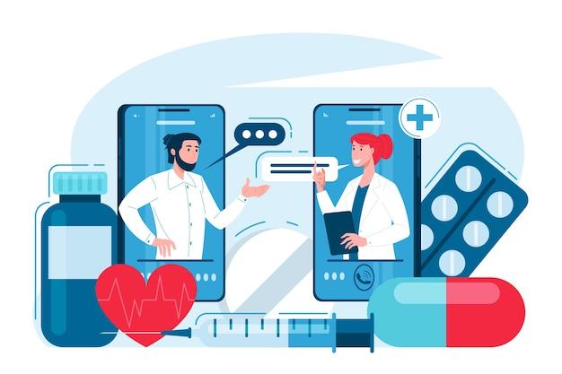 Consultation médicale en ligne d'un patient avec un médecin à l'aide du téléphone
