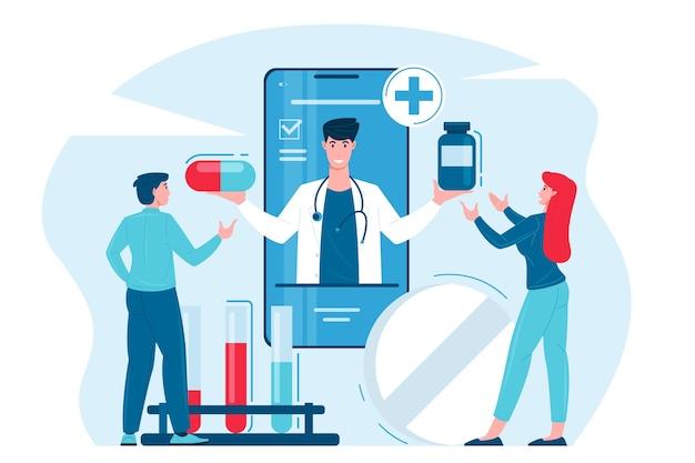 Consultation médicale en ligne d'un patient avec un médecin utilisant le téléphone.
