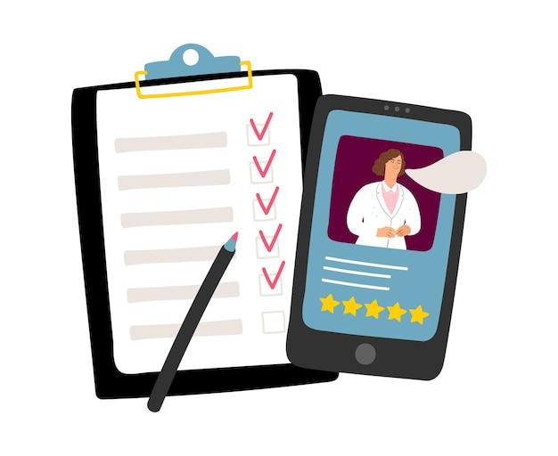 Consultation médicale par téléphone. médecin en ligne, concept d'appel d'urgence. remplir les documents médicaux, assistant médical