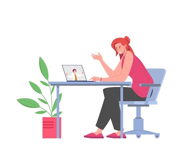 Consultation psychologique de patiente en ligne isolé sur fond blanc