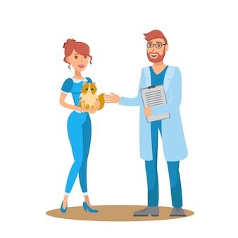 Consultation de vétérinaire illustration de couleur plat vector