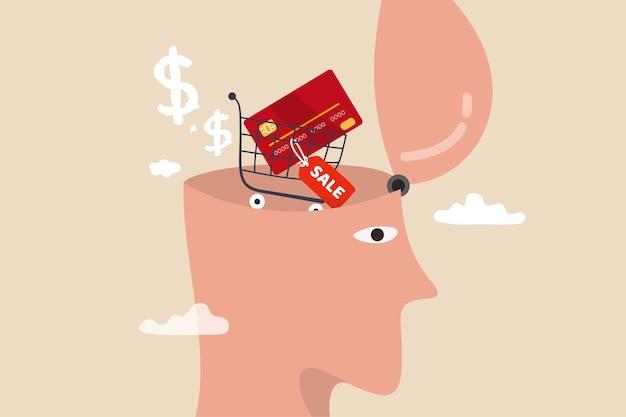 Consumérisme, désir d'esprit ou désir d'acheter et d'acheter plus, achat de thérapie ou concept de dépendance au shopping, tête humaine avec panier d'achat avec carte de crédit et étiquette de prix de vente dans son cerveau.