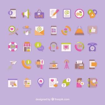 Contact pack vecteur icônes colorées