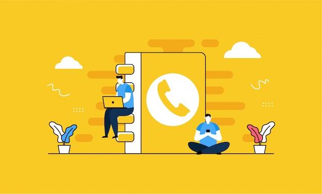 Contact téléphonique en style plat