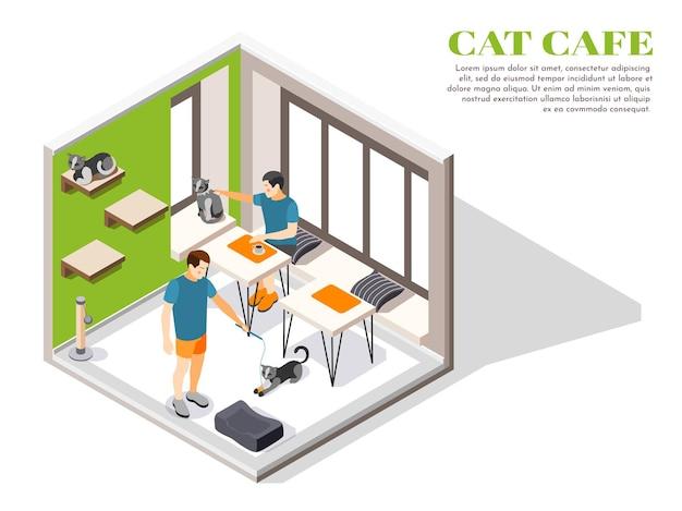 Contact zoo contact farm zoocafe composition isométrique avec des personnes et leurs animaux de compagnie