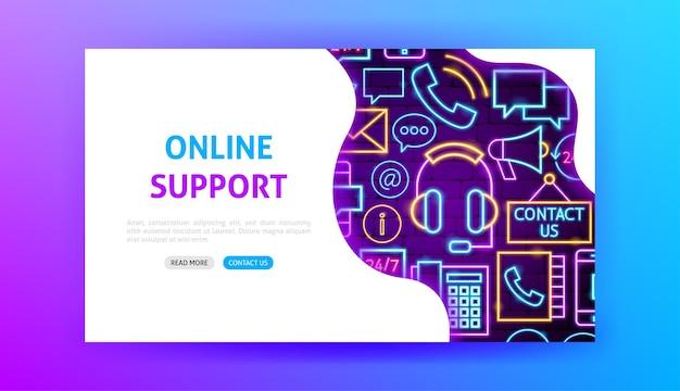 Contactez Neon Landing Page. Illustration Vectorielle De La Promotion Des Entreprises. Vecteur Premium