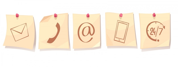 Contactez-nous concept cartoon rétro avec des feuilles de papier sur des punaises avec des icônes de service de support