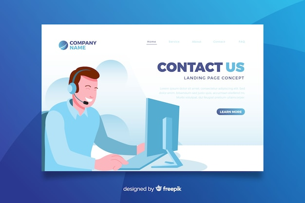 Contactez-nous concept landing page