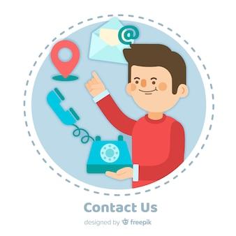 Contactez-nous design plat de fond