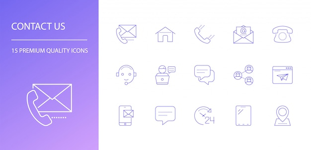 Contactez-nous ensemble d'icônes de ligne.