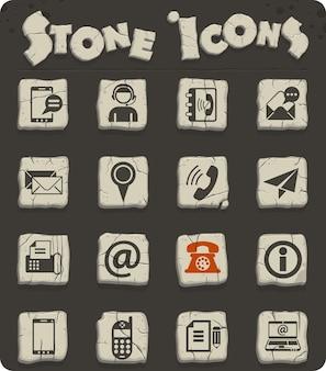 Contactez-nous icônes vectorielles sur des blocs de pierre dans le style de l'âge de pierre
