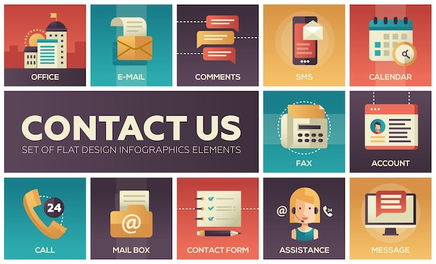 Contactez-nous - icônes vectorielles modernes du design plat définies avec des symboles de communication avec des couleurs dégradées. bureau, e-mail, commentaires, sms, message, compte, fax, formulaire, appel, assistance, calendrier de boîte aux lettres