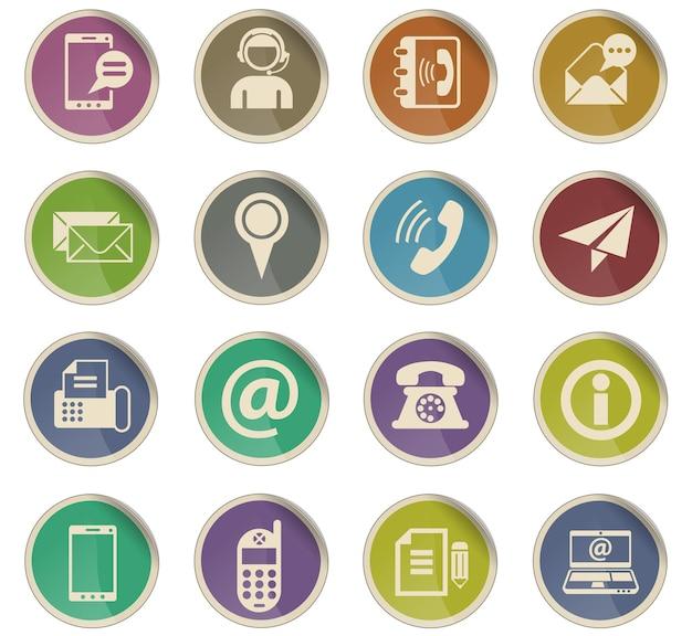 Contactez-nous icônes web sous forme d'étiquettes en papier rondes