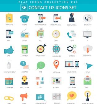 Contactez-nous, jeu d'icônes plat couleur centre de support