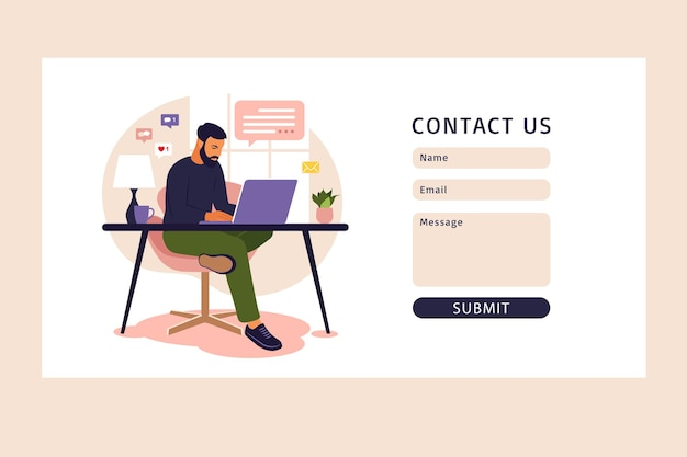 Contactez-nous modèle de formulaire. concept de bureau à domicile, homme travaillant à domicile. étudiant ou pigiste. concept indépendant ou étudiant.