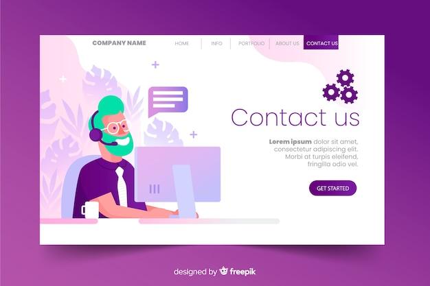 Contactez-nous page de destination avec design numérique