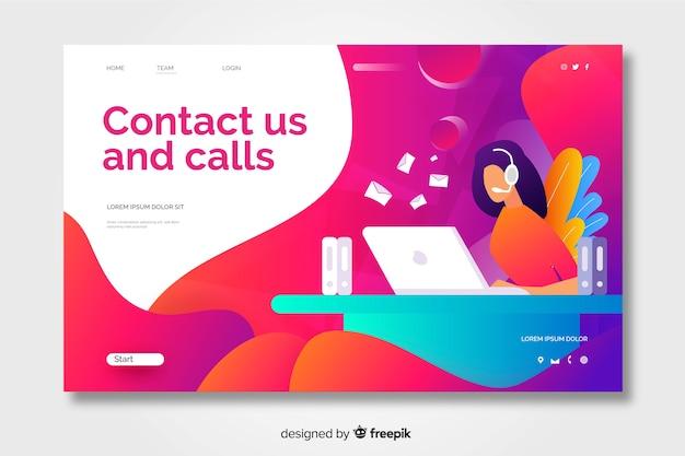 Contactez-nous page de destination avec un design plat