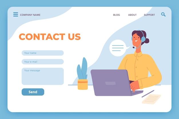Contactez-nous page de destination. service client du site web, opératrice avec ordinateur portable et formulaire de commentaires par e-mail. modèle vectoriel de centre d'appels en ligne. site internet de contact d'illustration, courrier de support en ligne